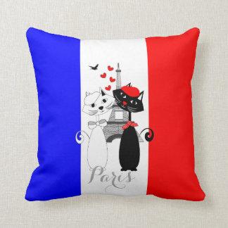 Cute Cat Lovers In Paris Blue White Red Tricolour Throw Pillow