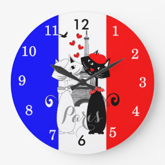 Cute Cat Lovers In Paris Red White Blue Large Clock