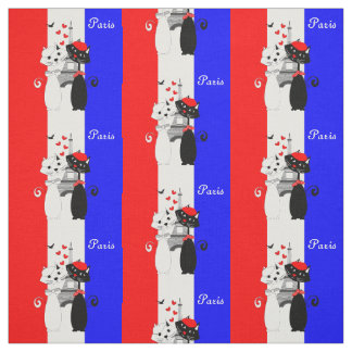 Cute Cat Lovers In Paris Red White Blue Stripe Fabric