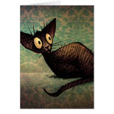 Cute Cat Lovers Oriental Black Cat Art Card