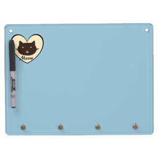 Cute Cat Meow Heart Dry Erase Board With Keychain Holder