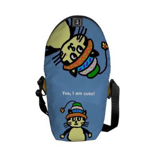 Cute cat mini messenger bag - ADD YOUR TEXT!