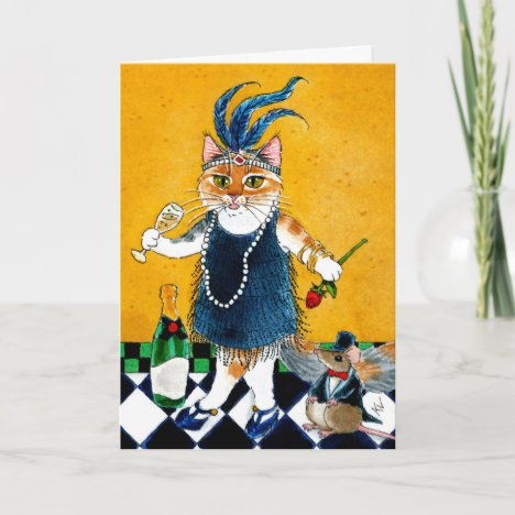 Cute cat mouse Flapper Art Deco funny birthday Card