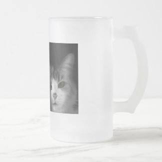 Cute Cat 16 Oz Frosted Glass Beer Mug