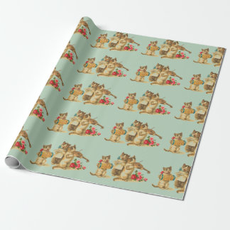 Cute Cat Musicians Birthday Wrapping Paper