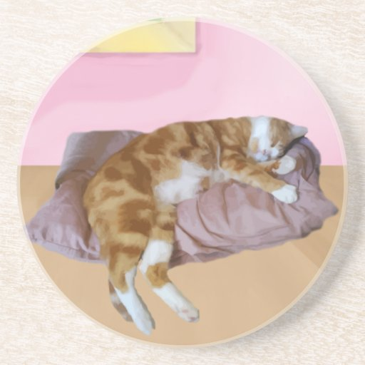 Cute Cat Napping Drink Coasters