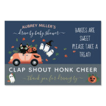 Cute Cat Navy Halloween Drive By Baby Shower Sign