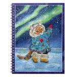 Cute cat, northern lights, winter Notebook