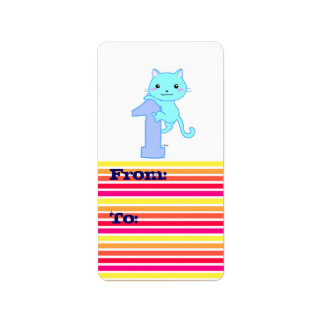 Cute cat number 1 personalized address label