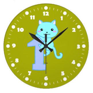cute cat number 1 large clock