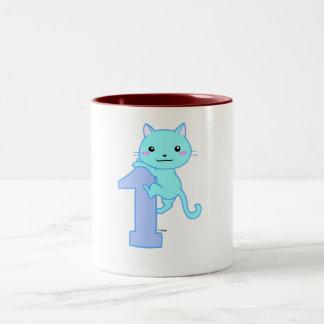 Cute cat number 1 Two-Tone coffee mug