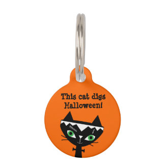 Cute Cat of Frankenstein Cat Pet Tag - Orange