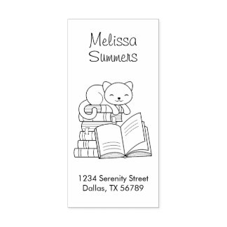 Cute Cat on top of A Book Stack Address Rubber Stamp