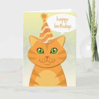 Cute Cat Orange Tabby Happy Birthday Cards