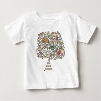 Cute Cat Owl & Birds Sittin in a Tree Illustration Baby T-Shirt