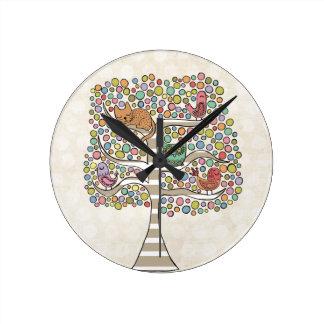 Cute Cat Owl & Birds Sittin in a Tree Illustration Round Clock