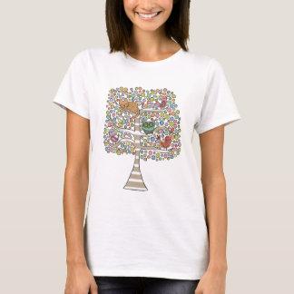 Cute Cat Owl & Birds Sittin in a Tree Illustration T-Shirt