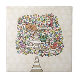 Cute Cat Owl & Birds Sittin in a Tree Illustration Small Square Tile
