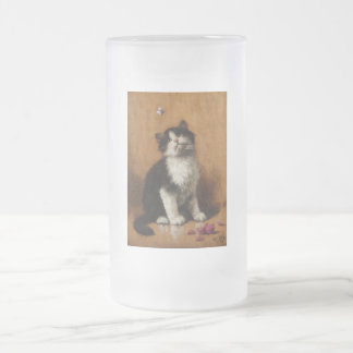 Cute Cat Painting Frosted Glass Beer Mug