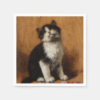 Cute Cat Painting Paper Napkin