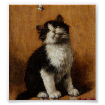 Cute Cat Painting Poster
