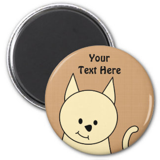 Cute Cat. Pale Amber Color. 2 Inch Round Magnet