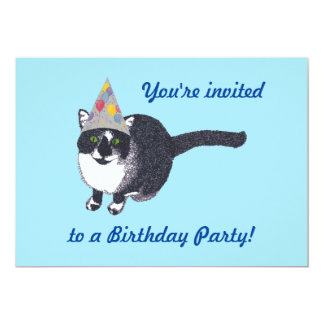 Cute Cat Party Hat Birthday Party Invitations