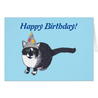 Cute Cat Party Hat Happy Birthday Cards