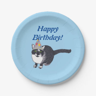 Cute Cat Party Hat Happy Birthday Plates
