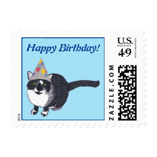 Cute Cat Party Hat Happy Birthday Stamps