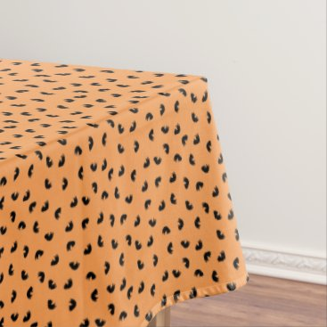Halloween Themed CUTE Cat Pattern Black and Orange Tablecloth