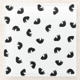 CUTE Cat Pattern Black and White Glass Coaster