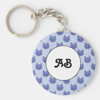 Cute cat pattern. Blue. Basic Round Button Keychain