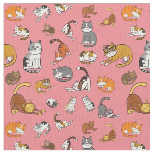 cute cat pattern design for cat lovers- pink backg fabric