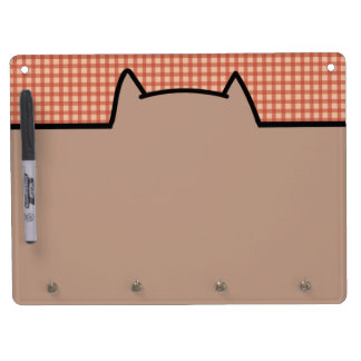 Cute Cat Pattern Dry Erase Board With Keychain Holder