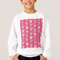 Cute cat pattern in pink sweatshirt