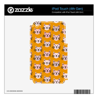 Cute cat pattern in yellow mustard decal for iPod touch 4G