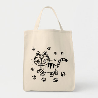 CUTE CAT PAWS GROCERY TOTE BAG