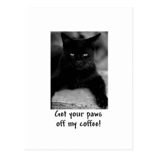 "Cute Cat ""Paws off My Coffee"" Mug Postcard"