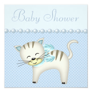 Cute Cat, Pearls & Hearts Blue Baby Boy Shower Card