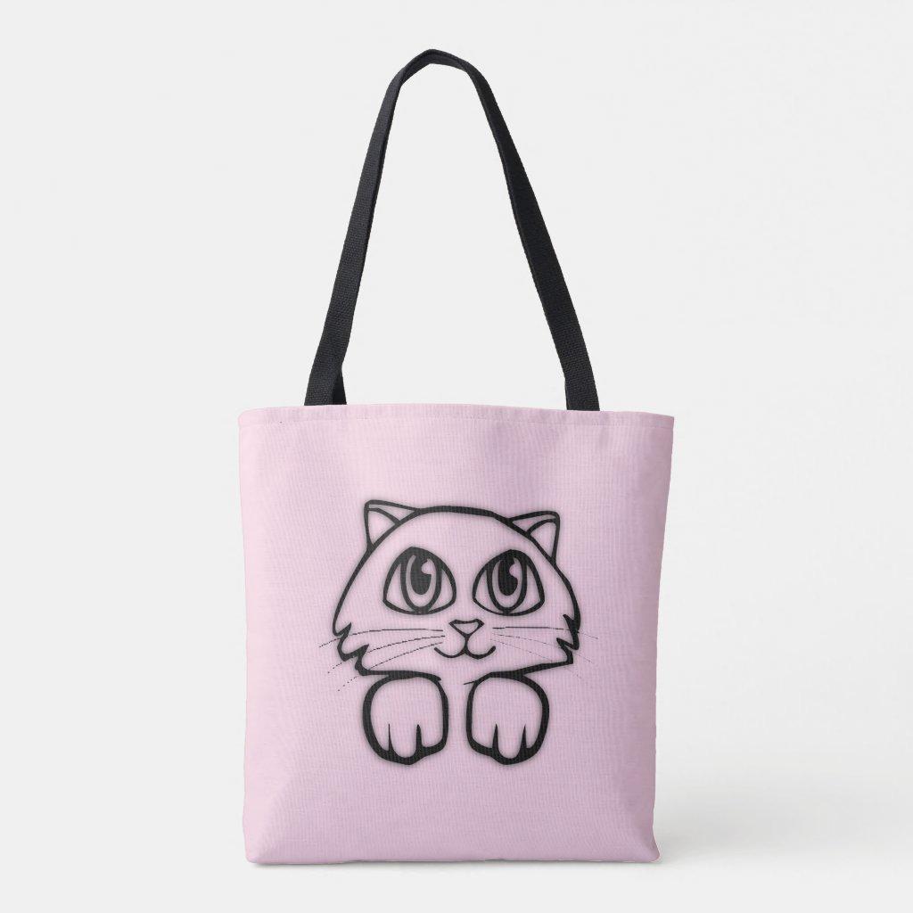 Cute Cat Peeking Pink Tote Bag