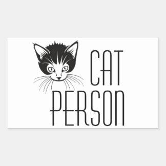 Cute Cat Person design with black cat Rectangular Sticker