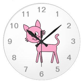 Cute Cat. Pink Cat Walking. Large Clock