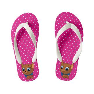 Cute cat pink vector illustration kid's flip flops