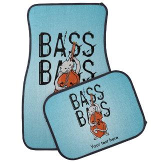 Cute Cat Playing a Double Bass or Upright Bass Car Floor Mat