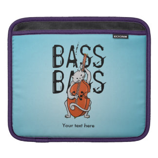 Cute Cat Playing a Double Bass or Upright Bass Sleeves For iPads