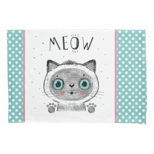 Cute Cat, Polka Dots, Paws MEOW Pillow Case