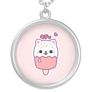 Cute Cat Popsicle Round Pendant Necklace