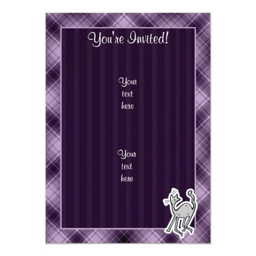 Cute Cat; Purple 5x7 Paper Invitation Card