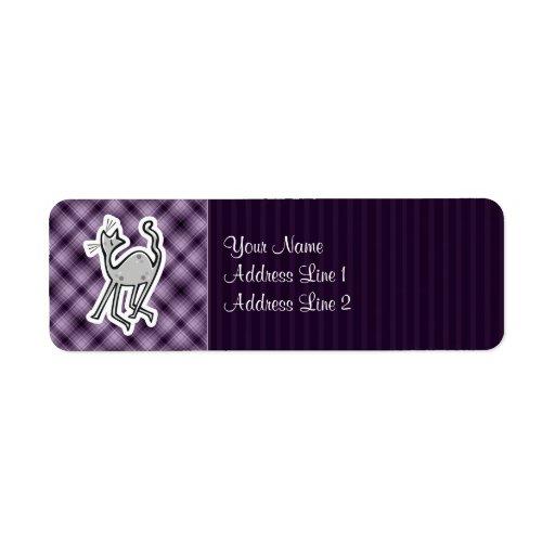 Cute Cat; Purple Custom Return Address Labels